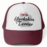 I Love(Heart) My Yorkshire Terrier/Yorkie Pawprint Trucker Hat