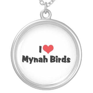 I Love Heart Mynah Birds - Bird Lovers Silver Plated Necklace