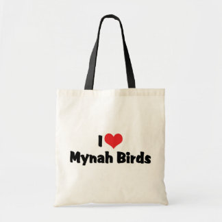 I Love Heart Mynah Birds - Bird Lovers Tote Bag
