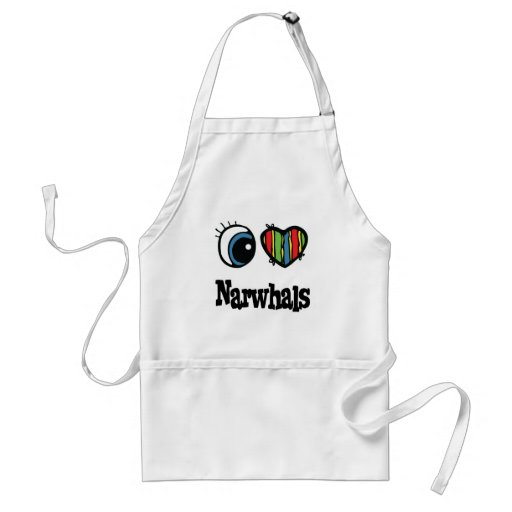 I Love (Heart) Narwhals Adult Apron
