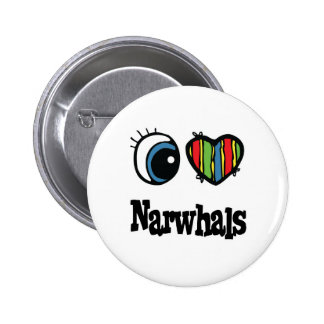 I Love (Heart) Narwhals Pinback Button