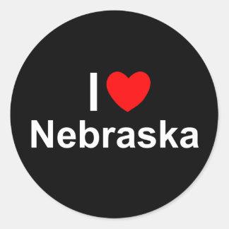 I Love (Heart) Nebraska Classic Round Sticker