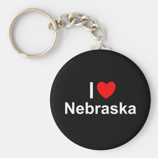 I Love (Heart) Nebraska Keychain