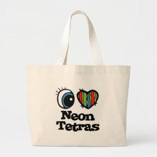 I Love (Heart) Neon Tetras Jumbo Tote Bag