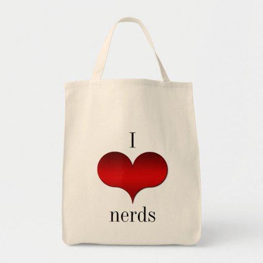 I Love (Heart) Nerds Tote Bag