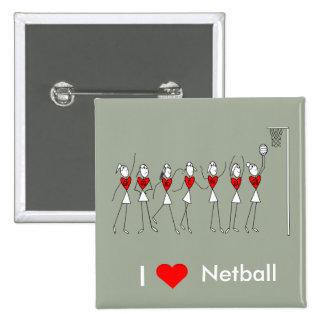 I Love Heart Netball Button