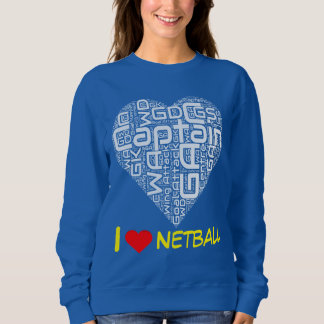 I Love Heart Netball Jumper Sweatshirt