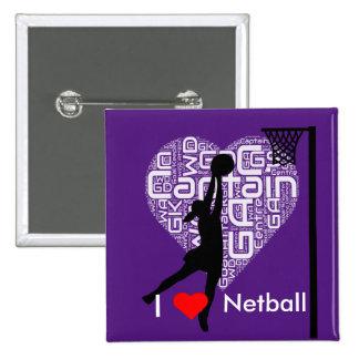 I Love Heart Netball Pinback Button