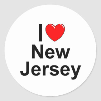 I Love (Heart) New Jersey Classic Round Sticker