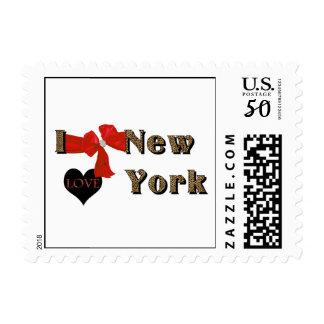 I LOVE (heart) New York Leopard postage stamp