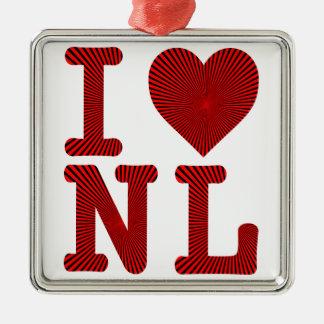 I LOVE HEART NL NEWFOUNDLAND AND LABRADOR METAL ORNAMENT