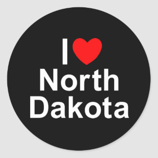 I Love (Heart) North Dakota Classic Round Sticker
