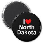 I Love (Heart) North Dakota Magnets