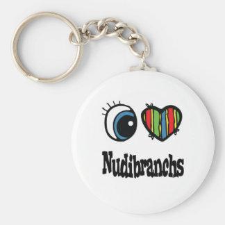 I Love (Heart) Nudibranchs Basic Round Button Keychain