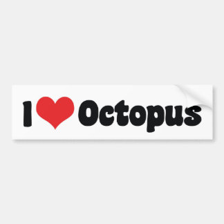 I Love Heart Octopus Bumper Sticker