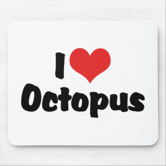 I Love Heart Octopus Mouse Pad