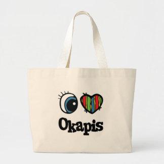 I Love (Heart) Okapis Large Tote Bag