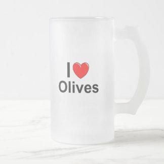 I Love Heart Olives Frosted Glass Beer Mug