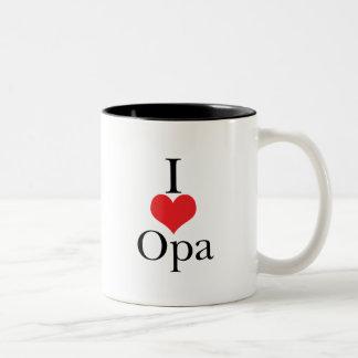 I Love (Heart) Opa Two-Tone Coffee Mug