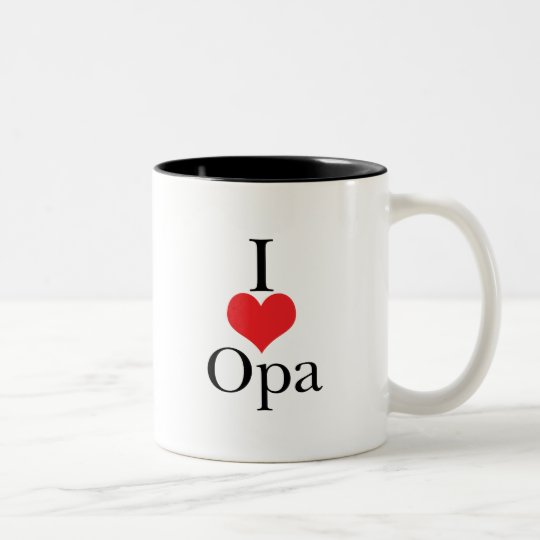 I Love (Heart) Opa Two-Tone Coffee Mug