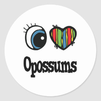 I Love (Heart) Opposums Classic Round Sticker