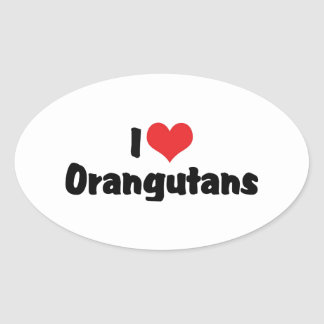 I Love Heart Orangutans Oval Sticker