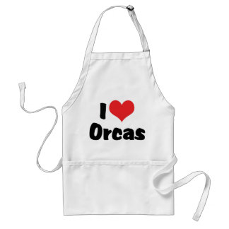I Love Heart Orcas - Killer Whale Lover Adult Apron