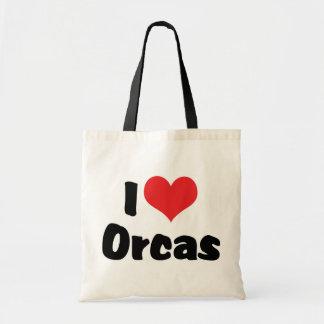 I Love Heart Orcas - Killer Whale Lover Tote Bag