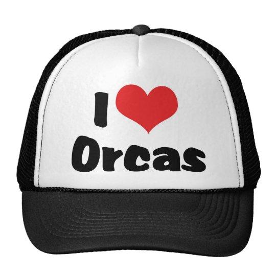 I Love Heart Orcas - Killer Whale Lover Trucker Hat