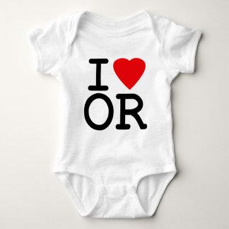 I Love Heart Oregon Baby Bodysuit