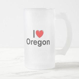 I Love (Heart) Oregon Frosted Glass Beer Mug
