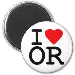 I Love Heart Oregon Refrigerator Magnets