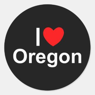 I Love (Heart) Oregon Round Stickers