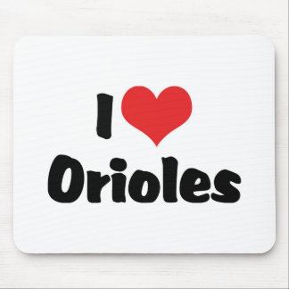 I Love Heart Orioles - Bird Lover Mouse Pad
