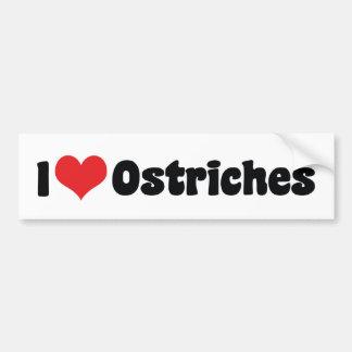 I Love Heart Ostriches - Ostrich Lover Bumper Sticker