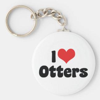 I Love Heart Otters Keychain