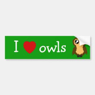 I Love/Heart Owls Cute Scruffy Owl Bumper Sticker