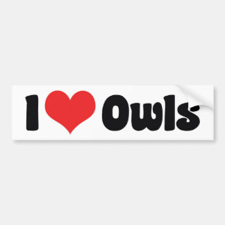 I Love Heart Owls - Owl Lover Bumper Sticker