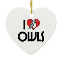 I Love Heart Owls - Owl Lover Ceramic Ornament