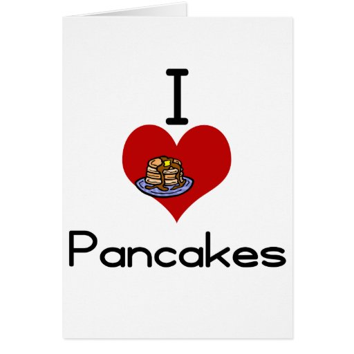 I love-heart pancakes greeting cards