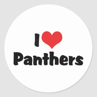 I Love Heart Panthers Classic Round Sticker