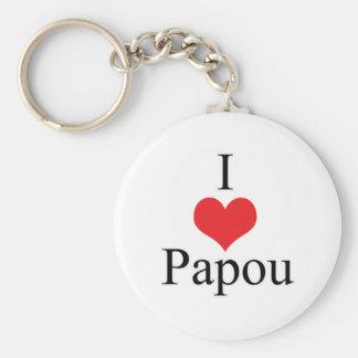 I Love (Heart) Papou Keychain