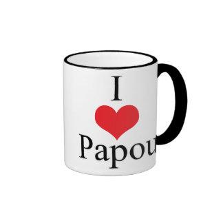 I Love (Heart) Papou Ringer Coffee Mug