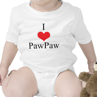I Love (Heart) PawPaw Baby Bodysuits