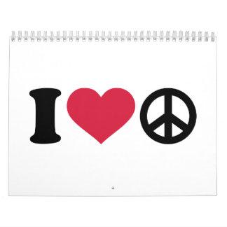 I love heart Peace Calendar