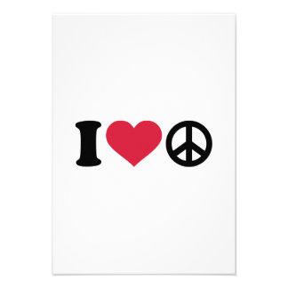I love heart Peace Invitations