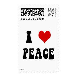 I Love (heart) Peace Postage