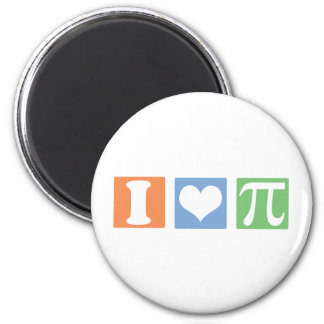 I Love (Heart) Pi 2 Inch Round Magnet