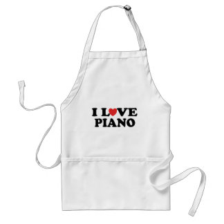 I Love Heart Piano Music Gifts Adult Apron