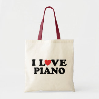 I Love Heart Piano Music Gifts Budget Tote Bag